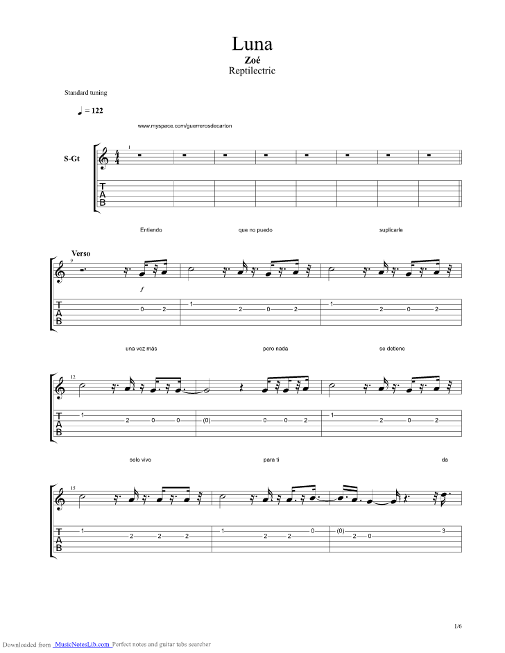 Luna Guitar Pro Tab By Zoe Musicnoteslib Com