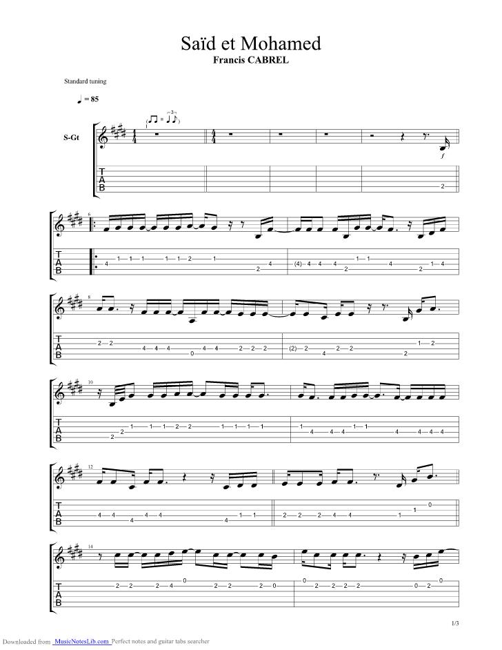 Said et mohamed guitar pro tab by francis cabrel - Ma cabane au fond du jardin francis cabrel ...