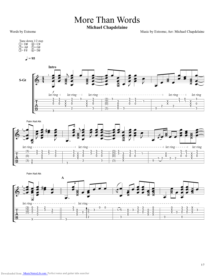 More Than Words guitar pro tab by Michael Chapdelaine @ musicnoteslib.com