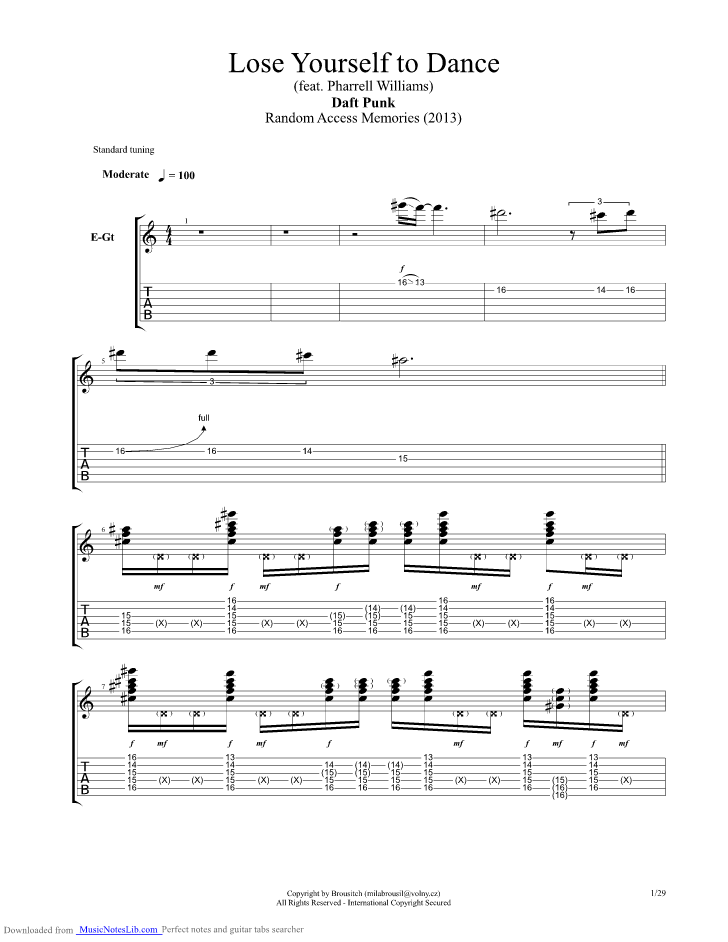 Lose Yourself To Dance guitar pro tab by Daft Punk
