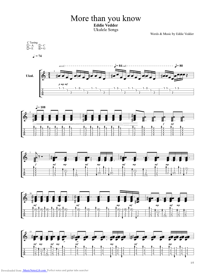 More Than You Know Guitar Pro Tab By Eddie Vedder Musicnoteslib