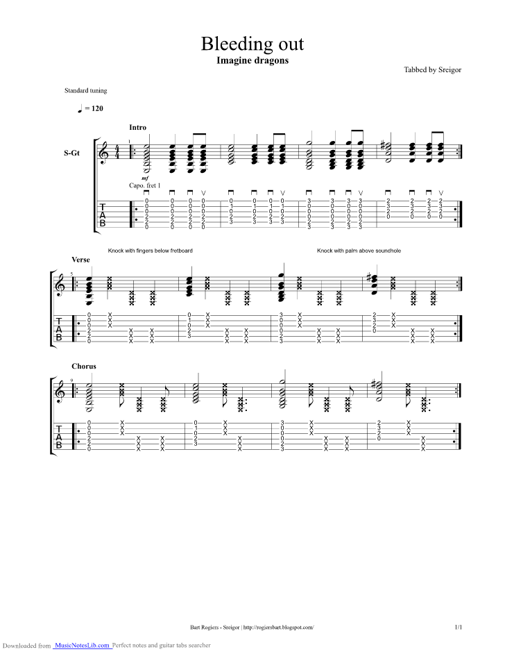Bleeding Out Guitar Pro Tab By Imagine Dragons Musicnoteslib