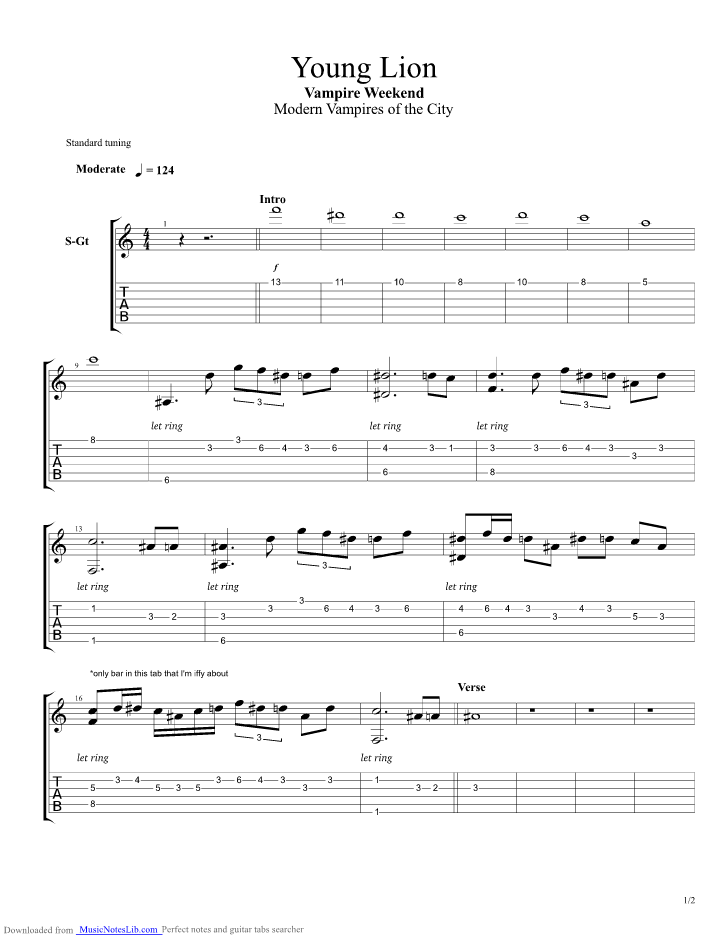 Young Lion Guitar Pro Tab By Vampire Weekend