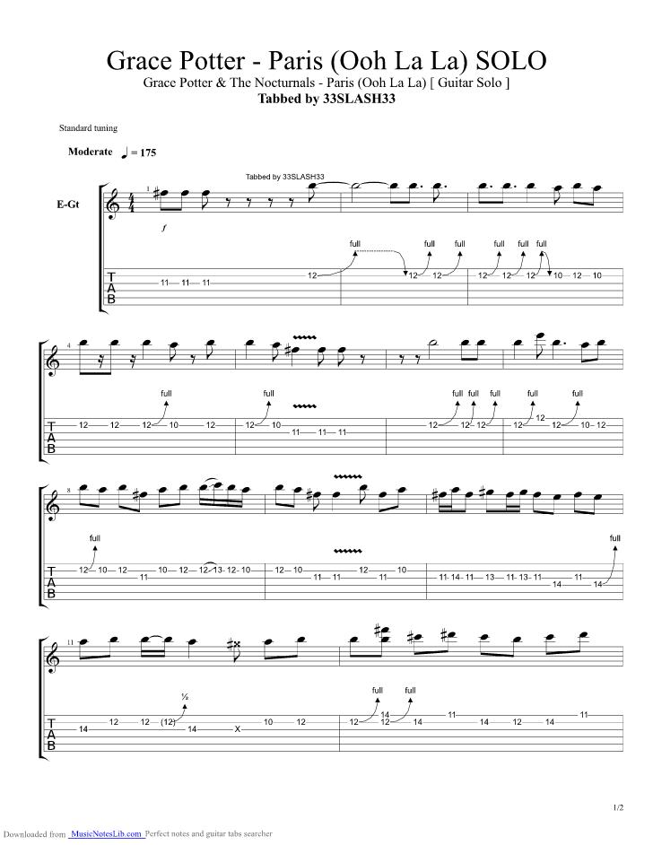Paris Oh La La Guitar Pro Tab By Grace Potter And The Nocturnals