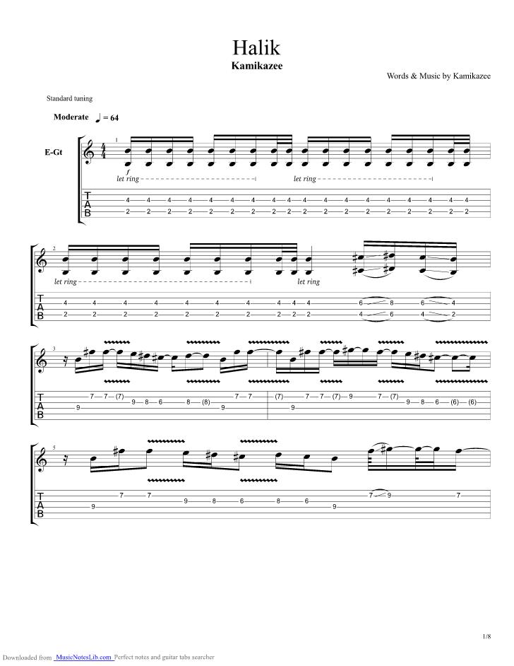 Halik guitar pro tab by Kamikazee @ musicnoteslib.com