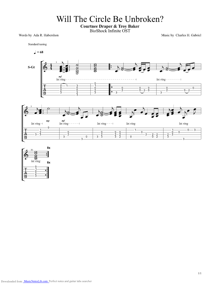 Bioshock Infinite Will The Circle Be Unbroken Guitar Pro Tab By