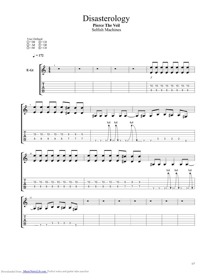 Disasterology Guitar Pro Tab By Pierce The Veil Musicnoteslib Com