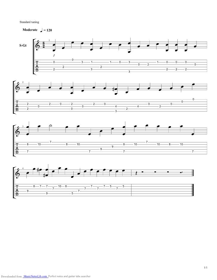 Tum Hi Ho guitar pro tab by Aashiqui 2 @ musicnoteslib.com