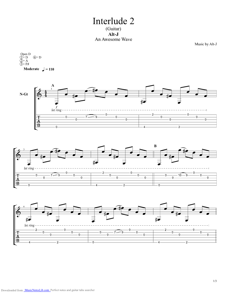 Interlude Guitar Pro Tab By Alt J Musicnoteslib