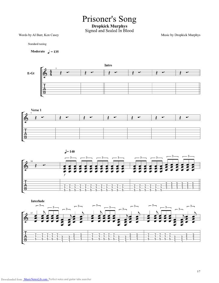 Prisoners Song Guitar Pro Tab By Dropkick Murphys Musicnoteslib
