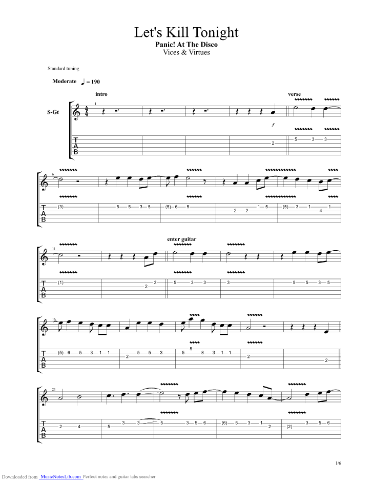 Lets Kill Tonight Guitar Pro Tab By Panic At The Disco