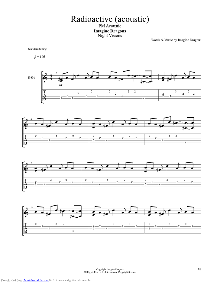 Radioactive Acoustic Guitar Pro Tab By Imagine Dragons
