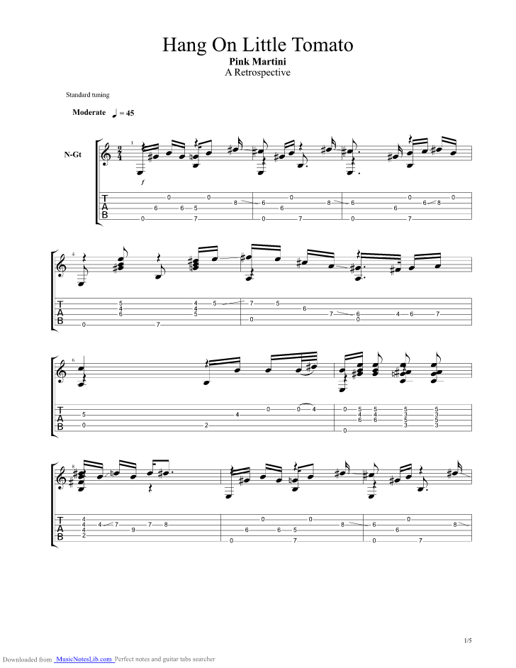 Hang On Little Tomato Guitar Pro Tab By Pink Martini Musicnoteslib