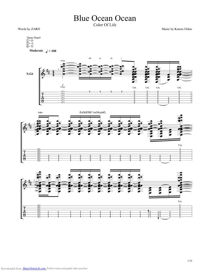 Big Blue Ocean Guitar Pro Tab By Kotaro Oshio Musicnoteslib