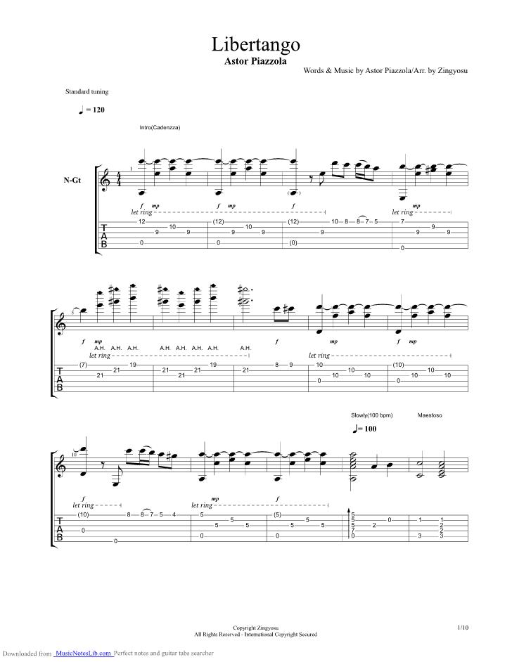 Libertango guitar pro tab by Kotaro Oshio @ musicnoteslib com