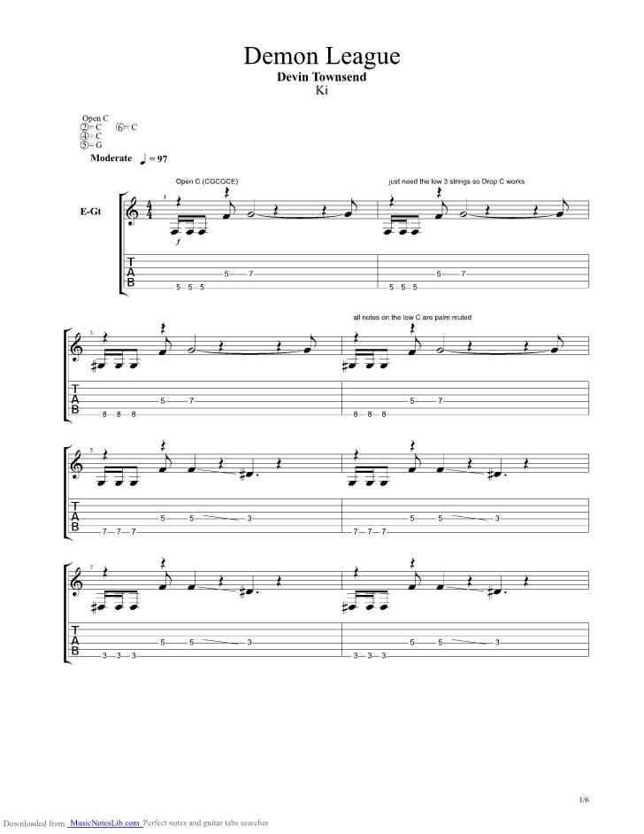 Demon League Guitar Pro Tab By Devin Townsend Musicnoteslib