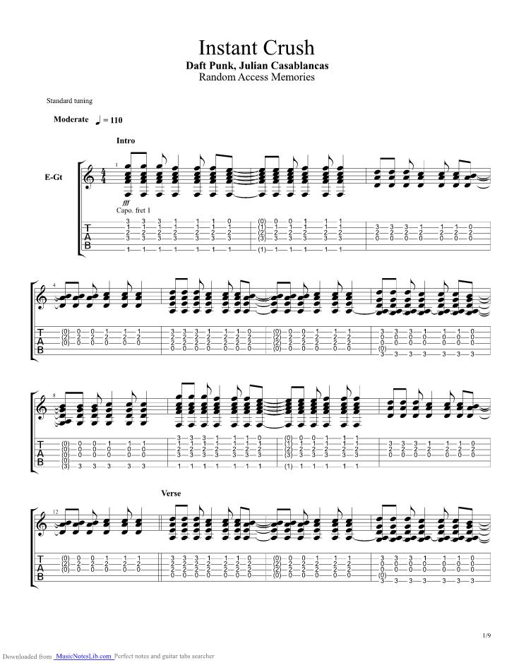 Instant Crush Guitar Pro Tab By Daft Punk Musicnoteslib
