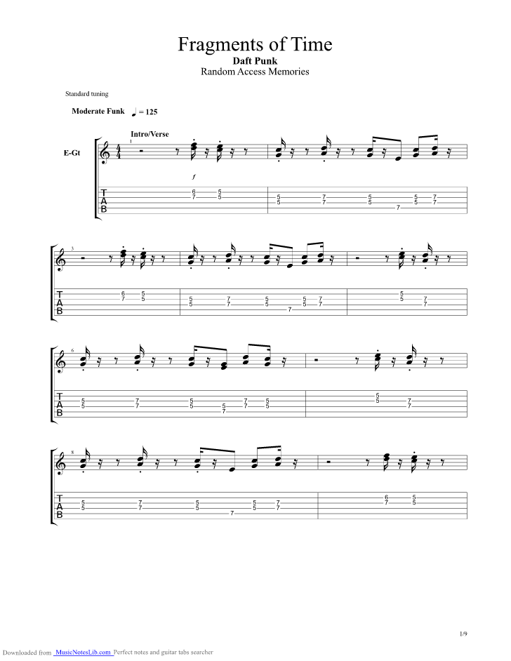 Fragments Of Time guitar pro tab by Daft Punk @ musicnoteslib.com