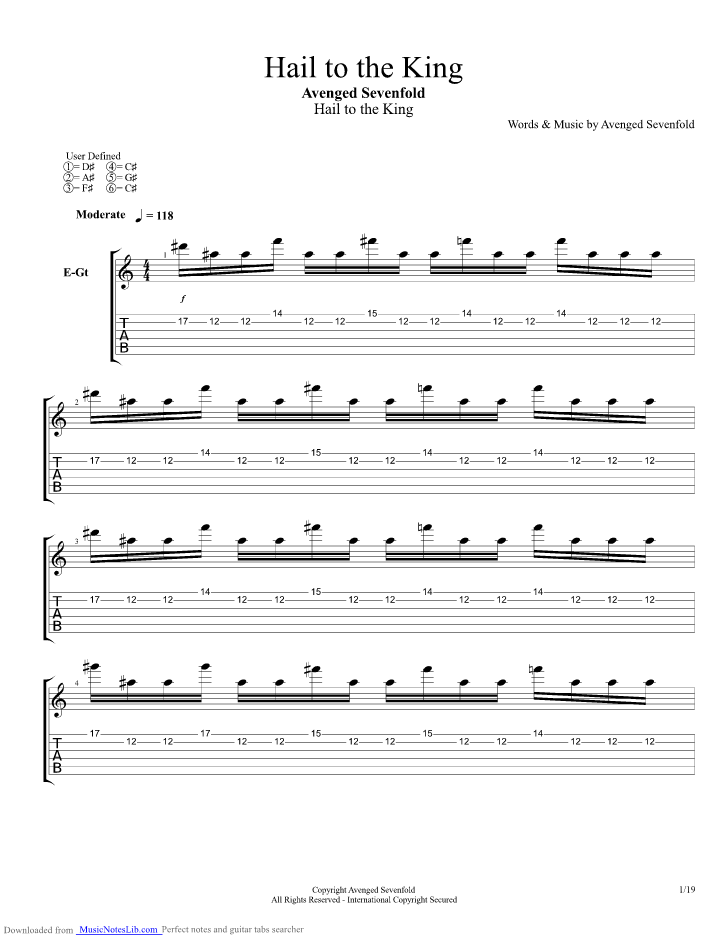 Hail To The King Guitar Pro Tab By Avenged Sevenfold Musicnoteslib