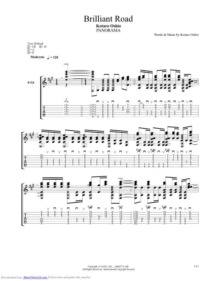 Brilliant Road Guitar Pro Tab By Kotaro Oshio Musicnoteslib