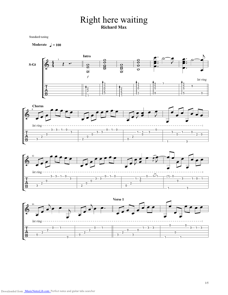 Right Here Waiting guitar pro tab by Ulli Boegershausen @ musicnoteslib.com