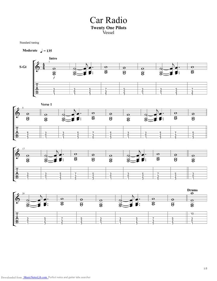 Car Radio guitar pro tab by Twenty One Pilots @ musicnoteslib.com