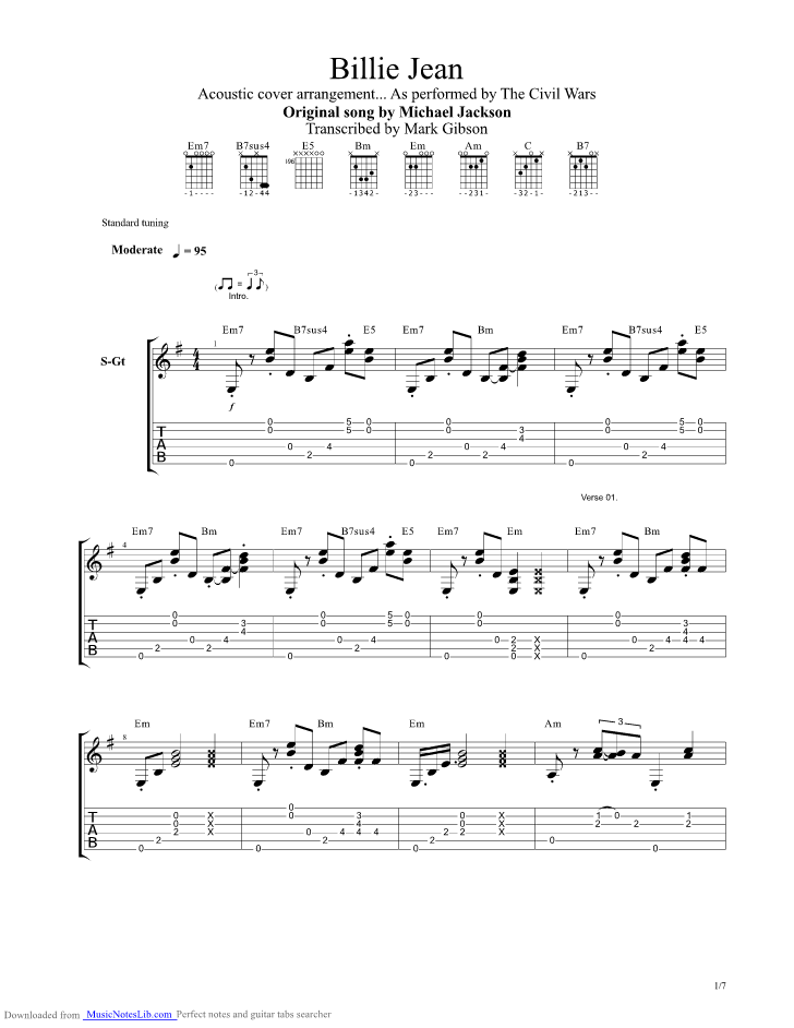 Billie Jean guitar pro tab by The Civil Wars @ musicnoteslib.com