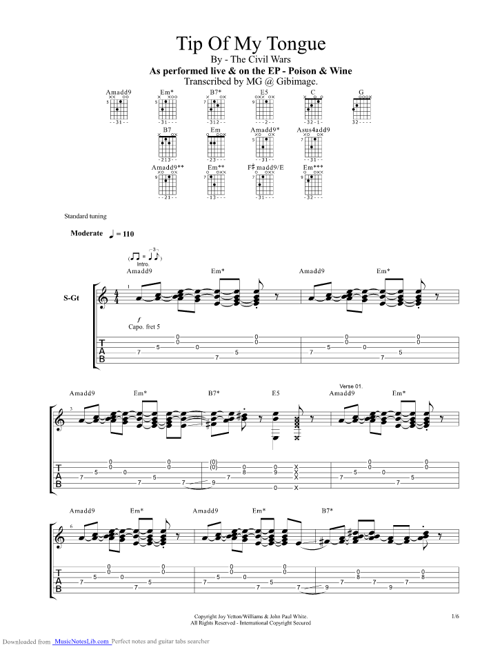 Tip Of My Tongue guitar pro tab by The Civil Wars @ musicnoteslib.com