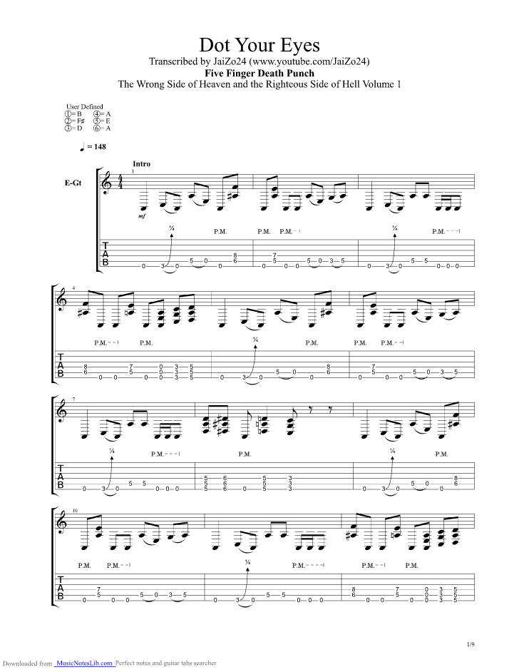 Dot Your Eyes Guitar Pro Tab By Five Finger Death Punch
