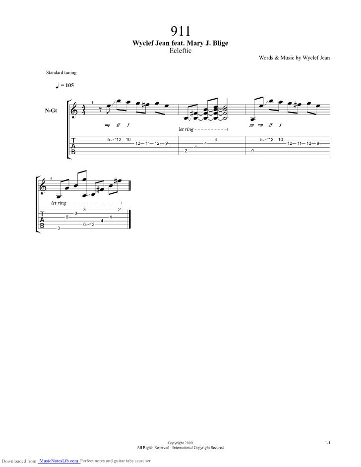 911 Guitar Pro Tab By Wyclef Jean Musicnoteslib