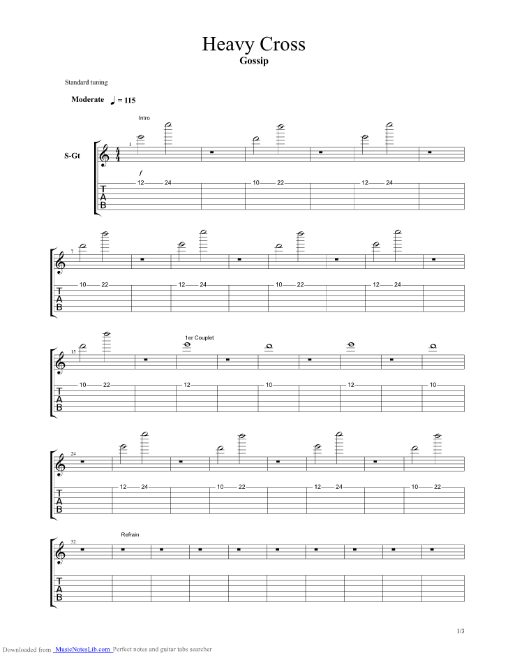 Heavy Cross Guitar Pro Tab By The Gossip At Musicnoteslibcom