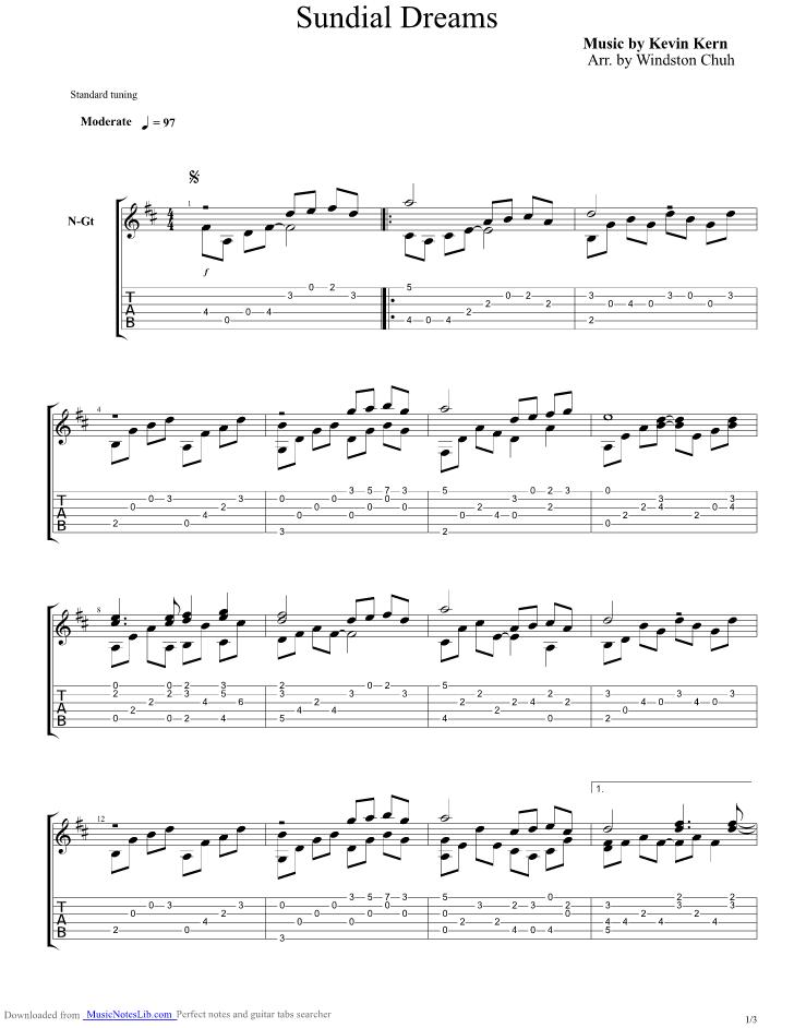 Sundial Dreams guitar pro tab by Kevin Kern @ musicnoteslib.com