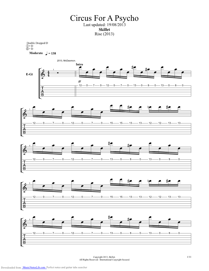 Circus For A Psycho Guitar Pro Tab By Skillet Musicnoteslib