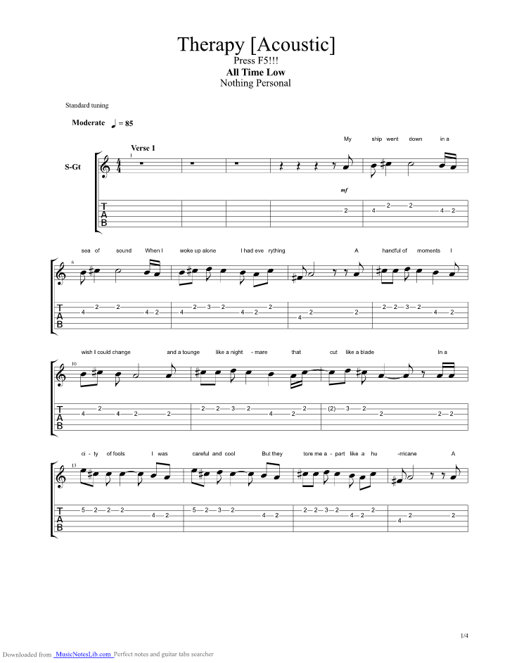 Therapy Acoustic Guitar Pro Tab By All Time Low Musicnoteslib