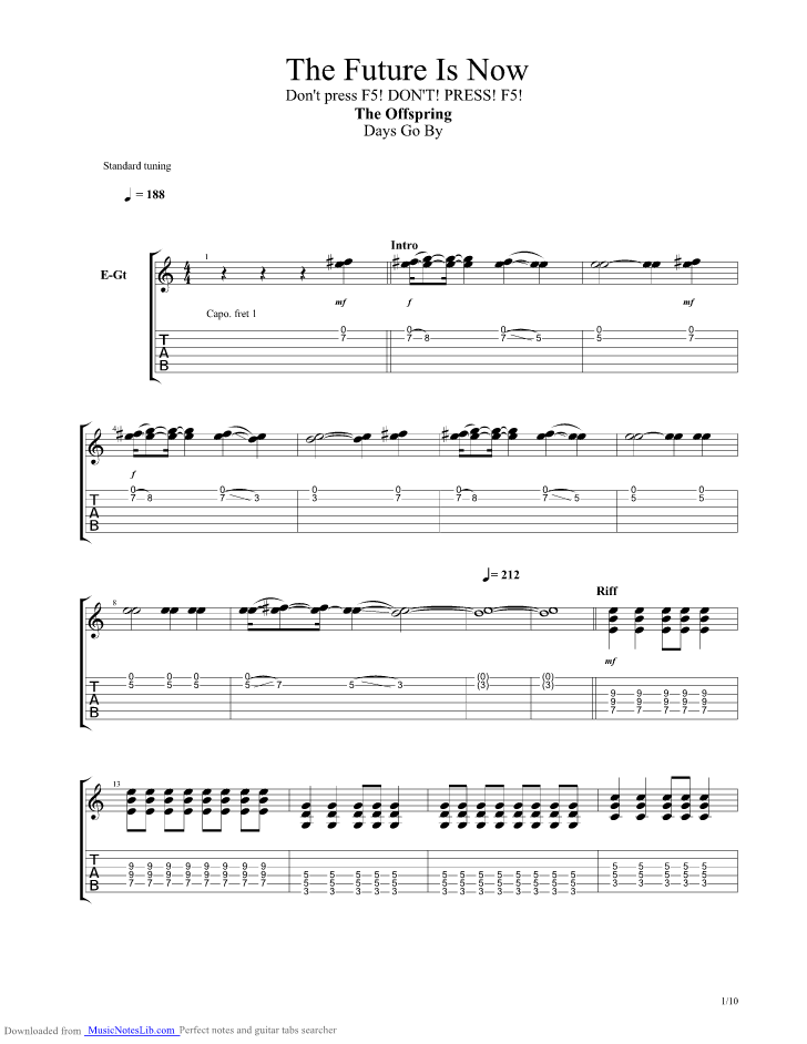 The future is now guitar pro tab by offspring @ musicnoteslib. Com.