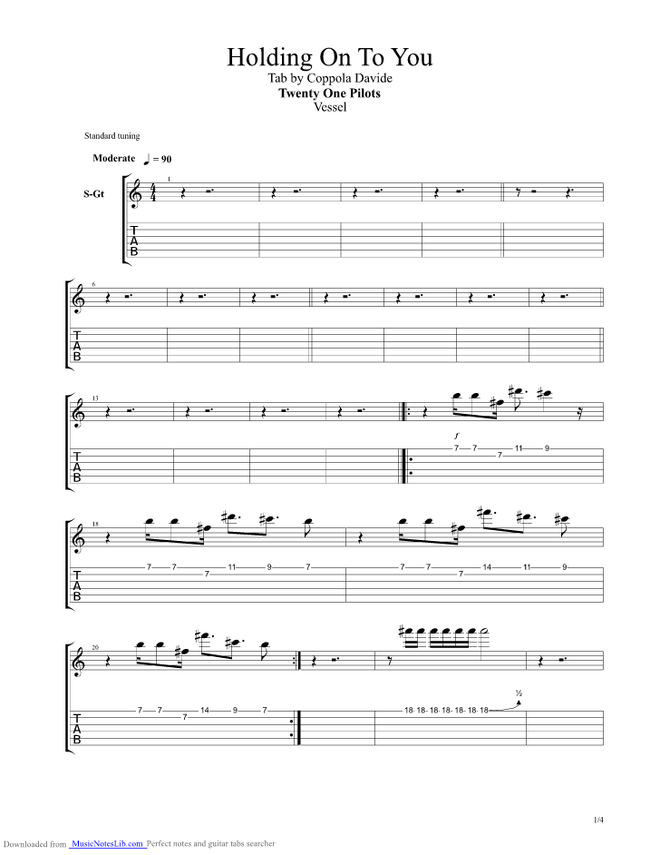 Holding On To You Guitar Pro Tab By Twenty One Pilots