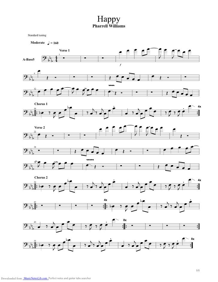 Happy guitar pro tab by Pharrell Williams @ musicnoteslib.com