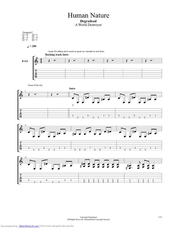 Human Nature Guitar Pro Tab By Degradead Musicnoteslib