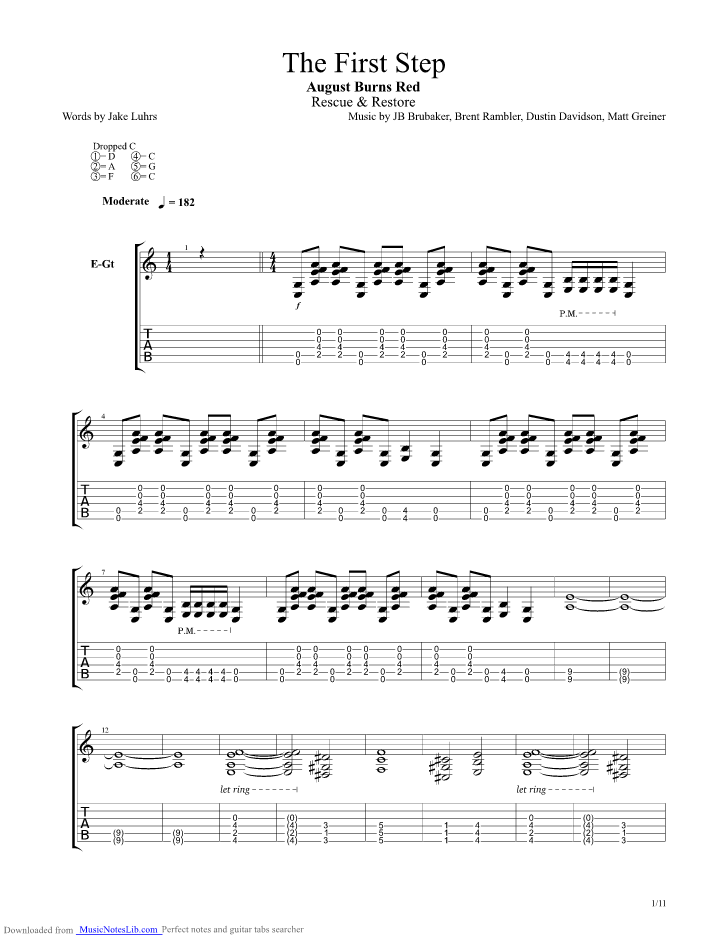 The First Step Guitar Pro Tab By August Burns Red