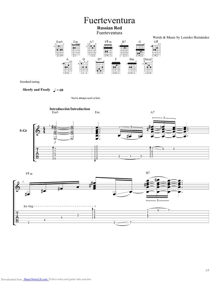 Fuerteventura guitar pro tab by Russian Red @ musicnoteslib.com