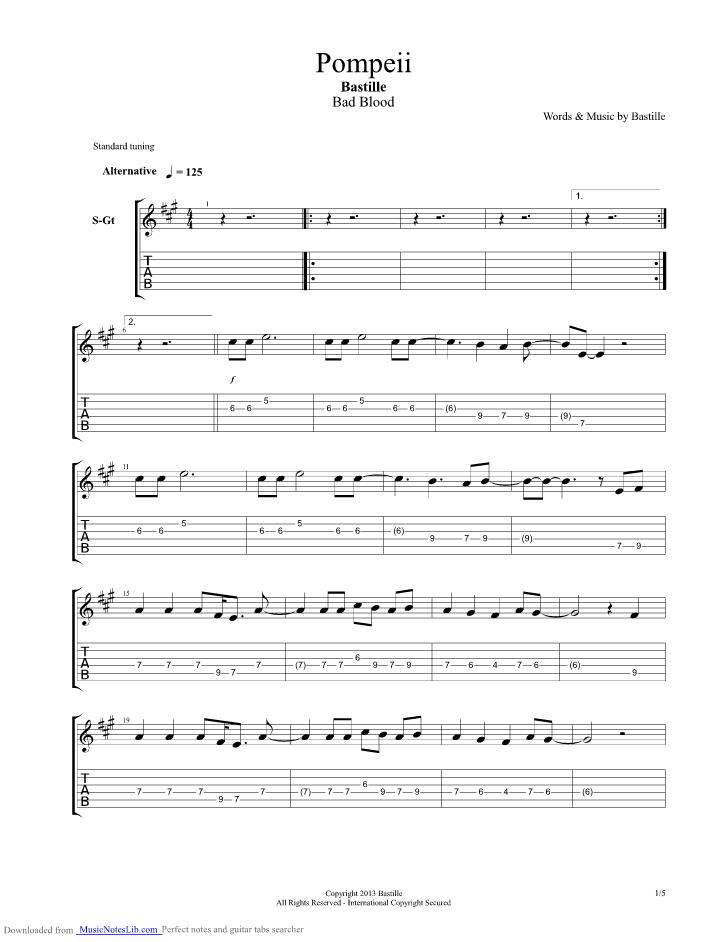 Pompeii Guitar Pro Tab By Bastille Musicnoteslib