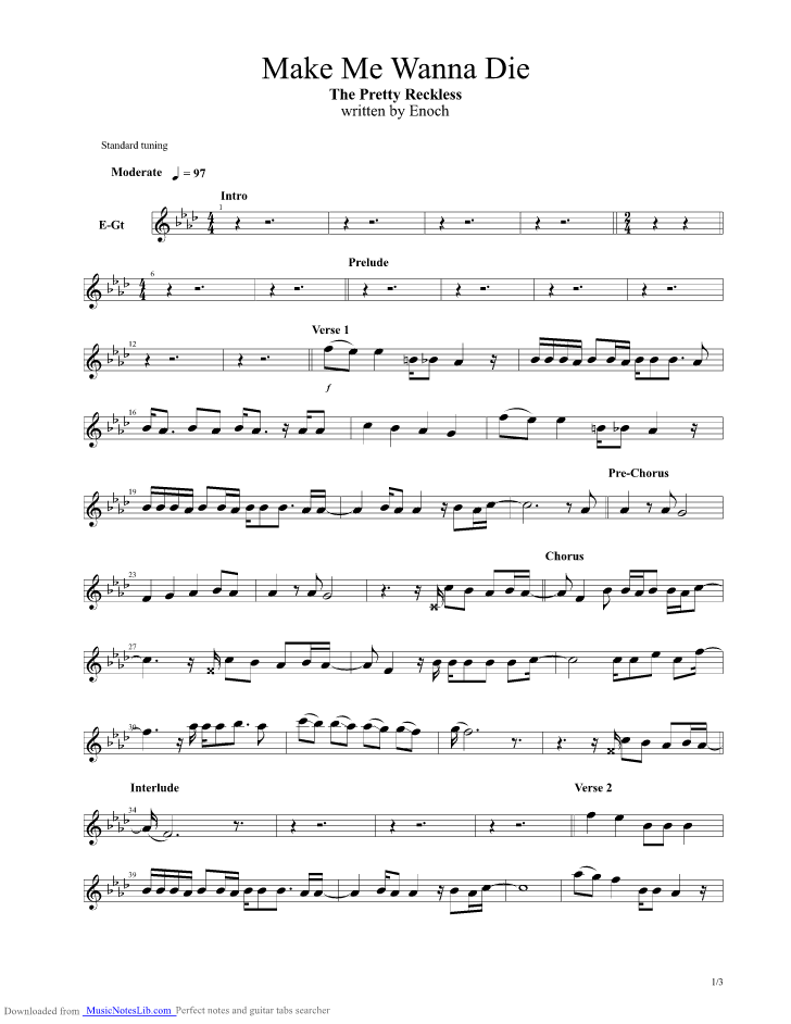 Make Me Wanna Die Guitar Pro Tab By The Pretty Reckless