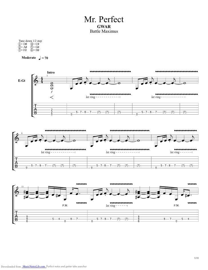 Mr Perfect guitar pro tab by Gwar @ musicnoteslib.com