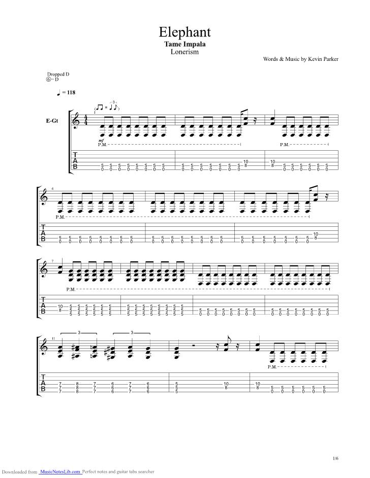 Elephant Guitar Pro Tab By Tame Impala Musicnoteslib