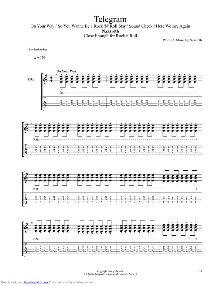 Telegram Guitar Pro Tab By Nazareth Musicnoteslib